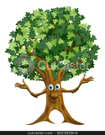 Tree character cartoon stock vector clipart, Illustration of a friendly cartoon tree character or mascot by Christos Georghiou