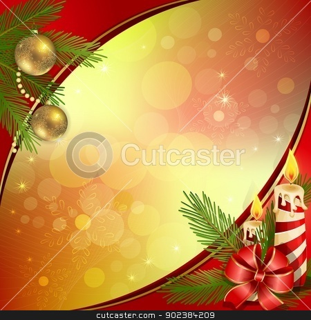 Christmas background  stock vector clipart, Beautiful Christmas background with burning candles by Loradora