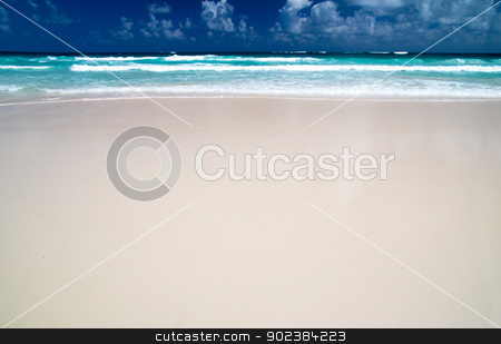 beach stock photo, beautiful blue caribbean sea beach by Vitaliy Pakhnyushchyy