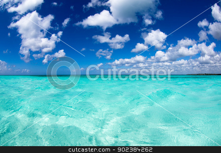 caribbean sea  stock photo, beautiful blue caribbean sea water by Vitaliy Pakhnyushchyy
