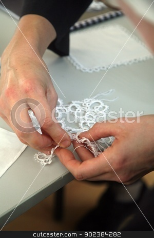 Process of lace-making stock photo, Process of lace-making by Zvonimir Atletic
