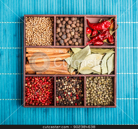 Spices stock photo, Various spices in wooden box by Grafvision