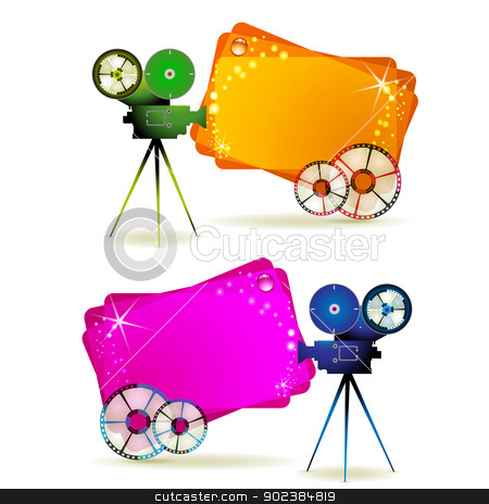 Film frames with camera stock vector clipart, Film frames with camera and colored backgrounds by Merlinul