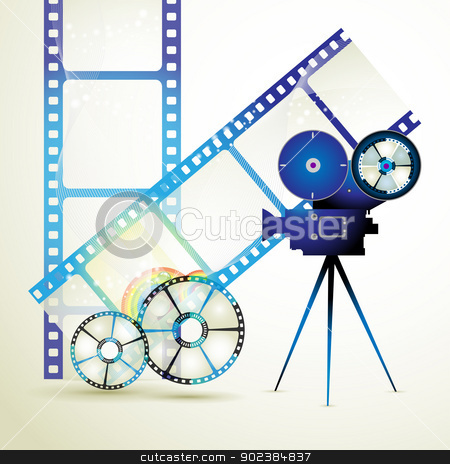 Film frames stock vector clipart, Film frames with colored circles by Merlinul