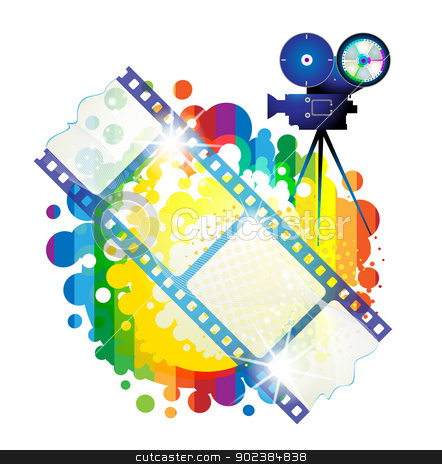 Film frames stock vector clipart, Film frames with camera over colorful background by Merlinul