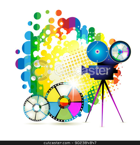 Circle film frames with camera stock vector clipart, Circle film frames with camera over colorful background by Merlinul
