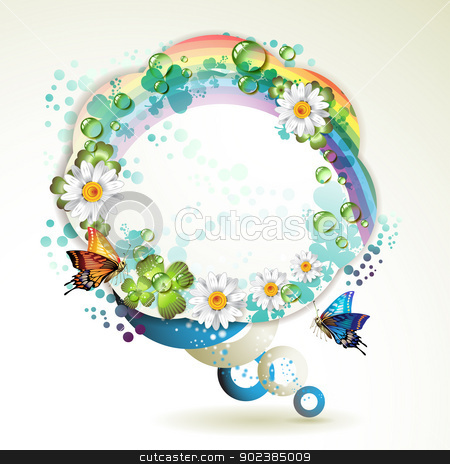 Abstract background with butterflie stock vector clipart, Abstract background with butterflies, flowers, rainbow and drops of water by Merlinul