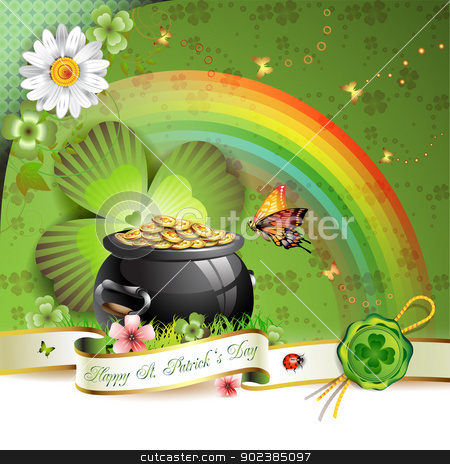 St. Patrick's Day card stock vector clipart, St. Patrick's Day card design with butterfly and clover   by Merlinul