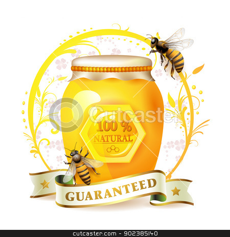 Bees with glass jar and honey stock vector clipart, Bees with glass jar and honey over floral background isolated on white by Merlinul