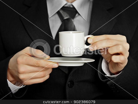 Pause in the work - cup of strong black coffee stock photo, A pause in the work - a cup of coffee by Alexey Romanov