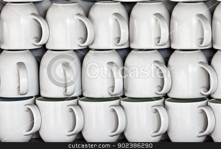Ceramic cups on market stall stock photo, White ceramic cups on the market stall by Alexey Romanov