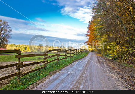 Autumn colorful mountain dirt road stock photo, Autumn colorful mountain dirt road, Kalnik, Croatia by xbrchx