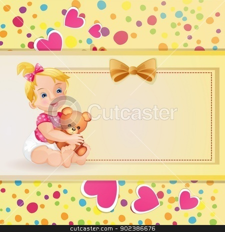 Baby shower card stock vector clipart, Baby shower card with cute baby girl  by Loradora