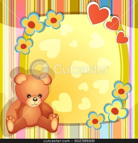 Baby shower card  stock vector clipart, Baby shower card with cute teddy bear  by Loradora