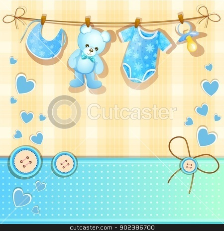 Baby shower card stock vector clipart, Baby shower card by Loradora