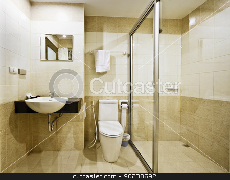 Bathroom in a budget hotel stock photo, The bathroom in a modern budget hotel by Alexey Romanov