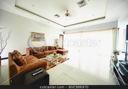 Interior of living room stock photo, Light interior of modern living room by Alexey Romanov