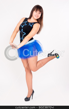Dancing girl stock photo, Young beautiful woman dancing at white background by Aikon