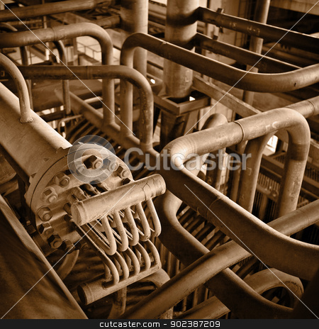 Iron industrial abstraction stock photo, Iron industrial abstract form - rusty pipes by Alexey Romanov