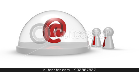 email symbol stock photo, email symbol under glass dome and play figures with tie - 3d illustration by J?