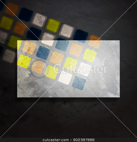 art frame stock vector clipart, new abstract grey frame on black background with colored squares can use to place your text or image by metrue