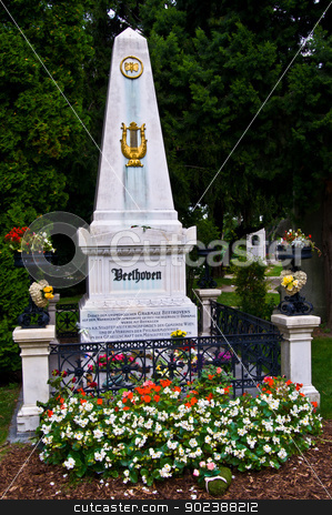 Beethoven's grave stock photo, Beethoven's grave on the viennese central cemetery by Juliane Jacobs