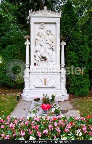 Schubert's grave stock photo, Schubert's grave on the viennese central cemetery by Juliane Jacobs
