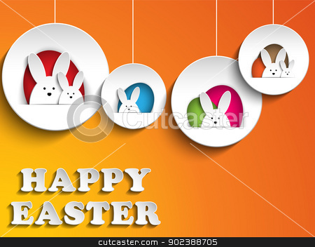 Happy Easter Rabbit Bunny on Orange Background stock vector clipart, Vector - Happy Easter Rabbit Bunny on Orange Background by gubh83