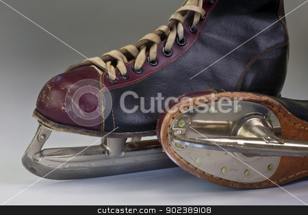 Ice Skates. stock photo, A pair of leather antique ice skates. by WScott