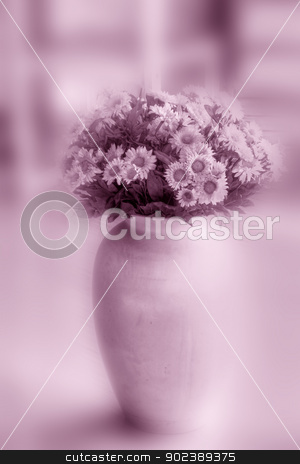 Flowers stock photo, Flower in a vase - soft focus pink toned background with space for your text by GPimages