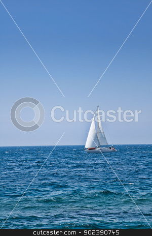 Sailboat stock photo, Sailboat on the horizon on a sunny day by Gordan Poropat