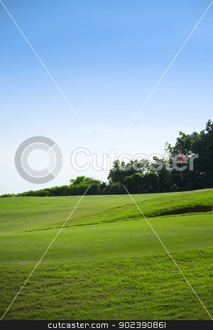Beautiful golf court in spring time stock photo, Beautiful golf court in spring time by Gordan Poropat