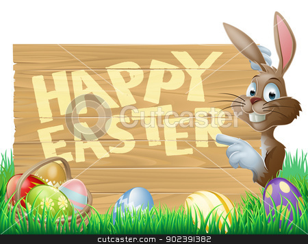 Isolated Happy Easter Bunny  stock vector clipart, Isolated illustration of a cute happy Easter Bunny pointing at a message reading Happy Easter by Christos Georghiou