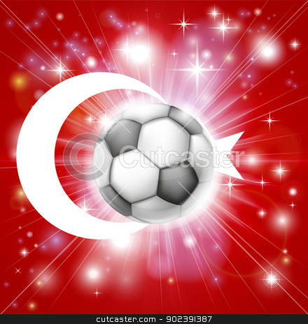 Turkey soccer flag stock vector clipart, Flag of Turkey soccer background with pyrotechnic or light burst and soccer football ball in the centre  by Christos Georghiou