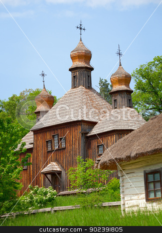 Old wooden Church. Ukraine Pirogovo stock photo, Old wooden Orthodox Church. Ukraine, Pirogovo by Alexey Romanov