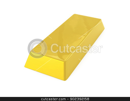 Gold Bar stock photo, 3D rendered Illustration. Isolated on white.  by Michael Osterrieder