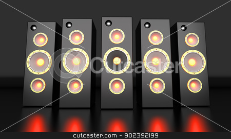 Power Speakers stock photo, A set of powerful Loudspeakers. 3D rendered Illustration. by Michael Osterrieder