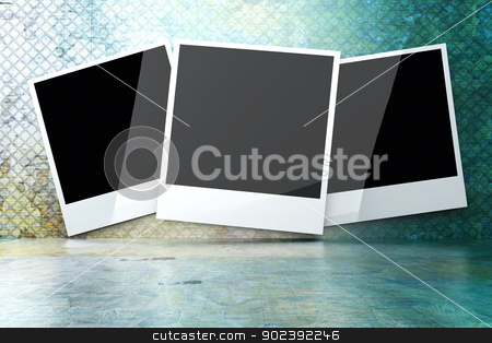 Iron Photo gallery stock photo, A instant photo in a iron room. 3D rendered illustration. by Michael Osterrieder