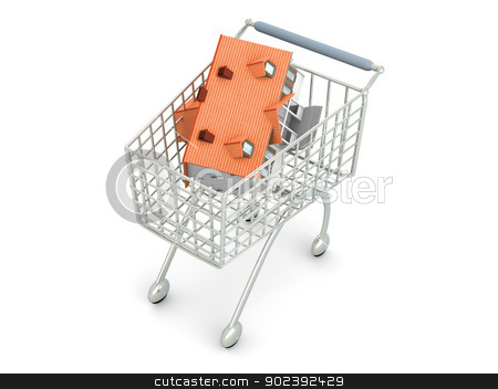 Real Estate Shopping stock photo, 3D rendered Illustration. Isolated on white. by Michael Osterrieder