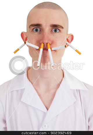 Man and cigarette stock photo, The man with cigarettes on all person on the white background by Alexey Romanov