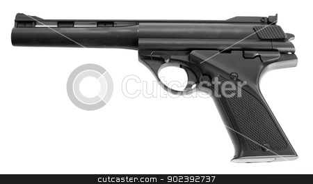 Gun on white stock photo, Black toy gun on the white background by Alexey Romanov