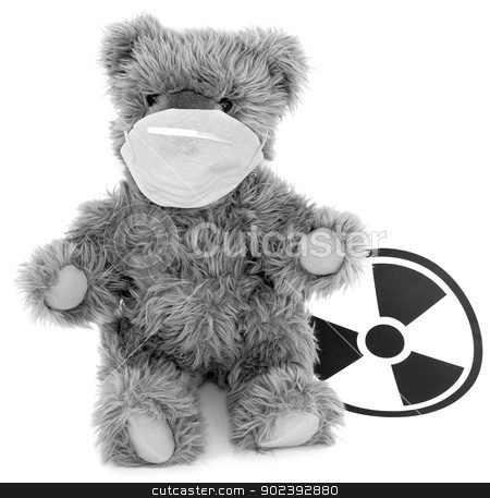 Toy bear and sign to radiation stock photo, Toy brown baer in respirator and sign to radiation by Alexey Romanov