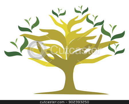 Tree of open hands stock vector clipart, Image of tree created from shape of human hands by Oxygen64