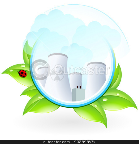 Nuclear Power Plant Icon stock vector clipart, Nuclear Power Plant Icon with Leaves and lady by Vadym Nechyporenko