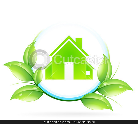 House Icon stock vector clipart, Green House Icon with Leaves by Vadym Nechyporenko