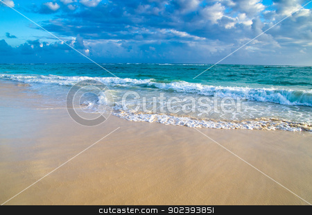 sea  stock photo, beautiful blue caribbean sea beach by Vitaliy Pakhnyushchyy