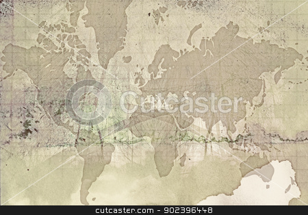 Grunge world map stock photo, Computer designed highly detailed grunge paper world map background by Gordan Poropat