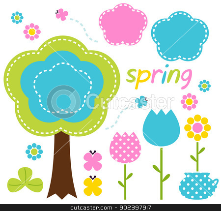 Spring colorful flowers and nature design elements  stock vector clipart, Floral spring set - pink, blue and green. Vector Illustration by BEEANDGLOW