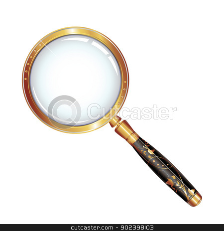 Magnifying glass stock vector clipart, Magnifying glass isolated over whit by Merlinul