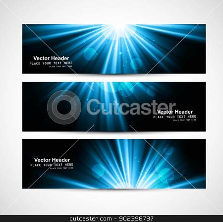 abstract bright blue rays colorful header set vector stock vector clipart, abstract bright blue rays colorful header set vector by bharat pandey